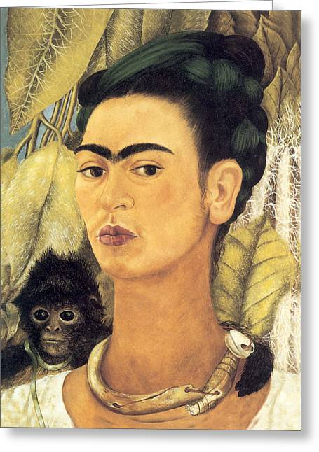 Self Portrait With Monkey  Greeting Card