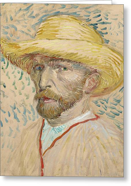 Self Portrait With Straw Hat  Greeting Card by Vincent van Gogh