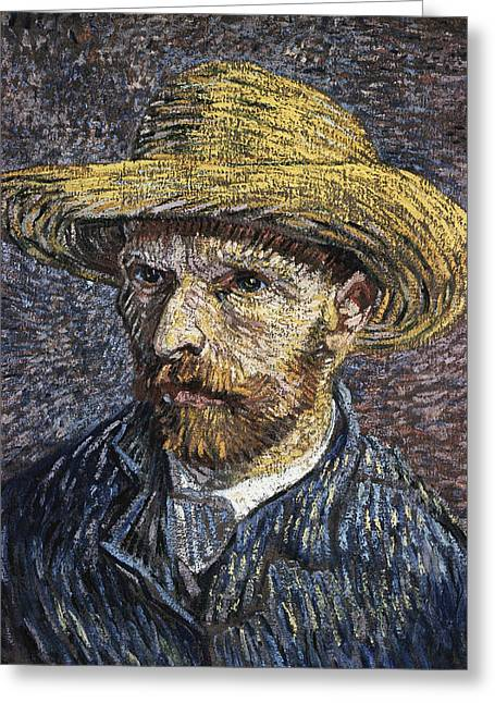 Self - Portrait With Straw Hat1 Greeting Card by Vincent Van Gogh