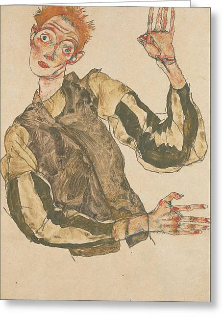 Self-portrait With Striped Armlets Greeting Card by Egon Schiele