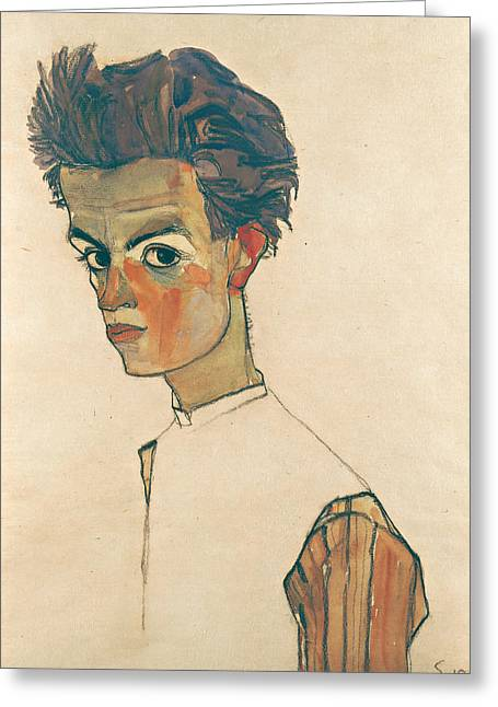 Self-portrait With Striped Shirt Greeting Card by Egon Schiele