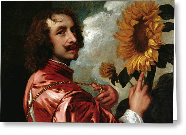 Self-portrait With Sunflower Greeting Card