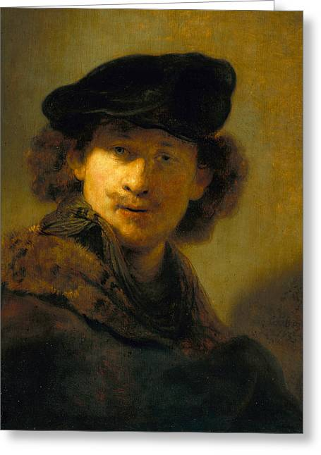 Self-portrait With Velvet Beret Greeting Card by Rembrandt