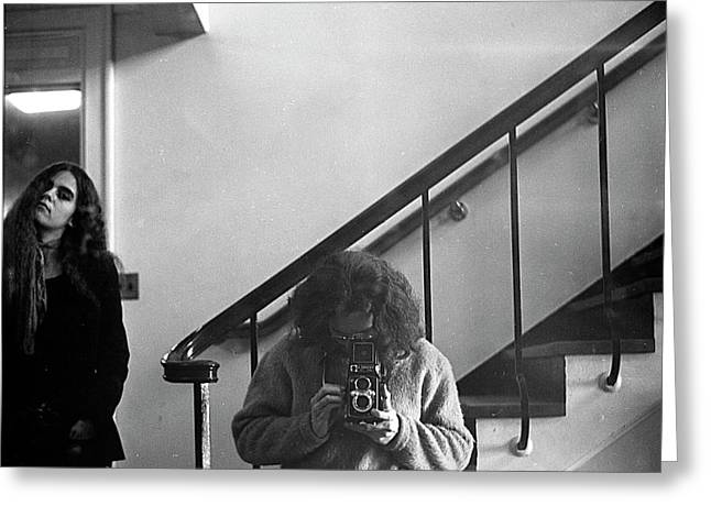 Self-portrait, With Woman, In Mirror, Cropped, 1972 Greeting Card