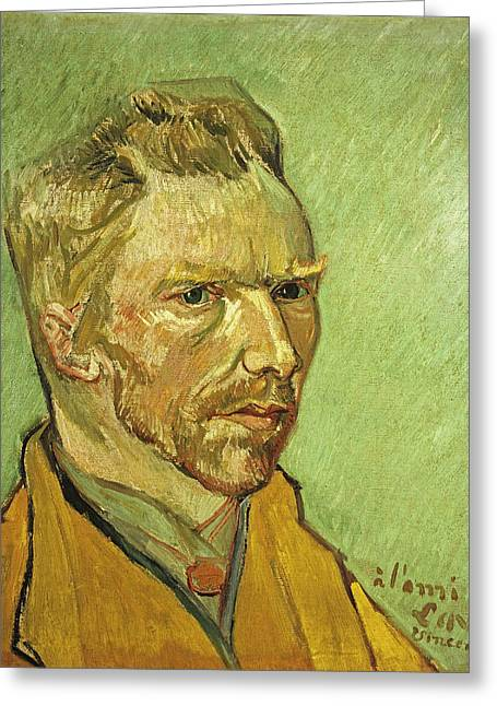 Self Portrait Yellow Greeting Card by Vincent Van Gogh