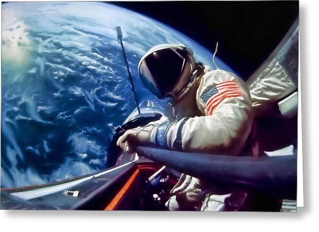 Selfie Buzz Aldrin Greeting Card