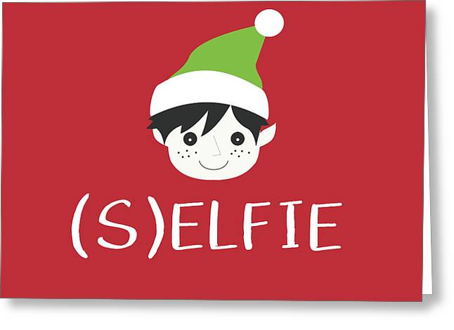 Selfie Elf- Art By Linda Woods Greeting Card by Linda Woods