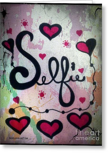 Greeting Card featuring the drawing Selfie by Rachel Maynard