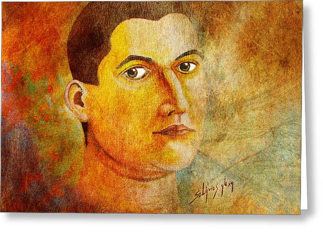Selfportrait Oil Greeting Card by Alexa Szlavics
