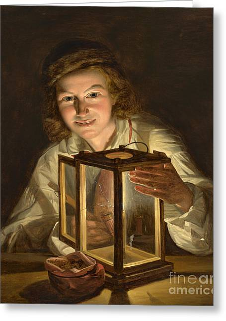 Selfportrait With A Lantern Greeting Card by Celestial Images