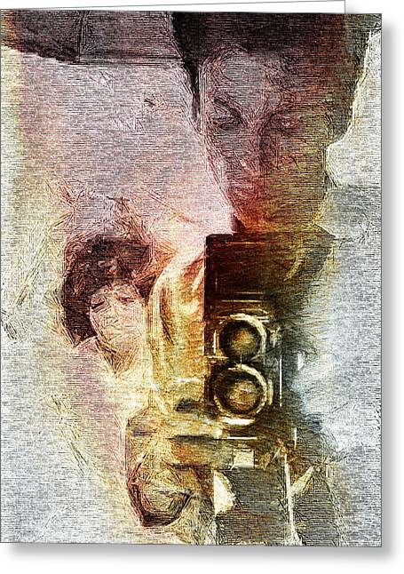 Pause Digital Greeting Cards - Selfportraiting Greeting Card by Andrea Barbieri