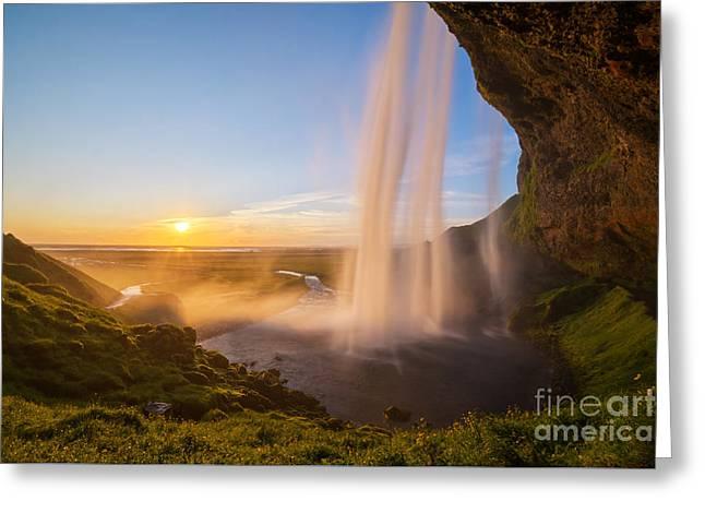 Seljalandsfoss Sunset Iceland Greeting Card