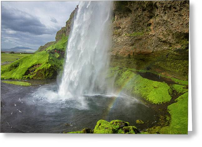 Seljalandsfoss With Rainbow, Iceland Greeting Card