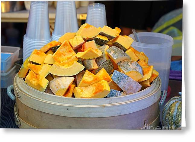 Greeting Card featuring the photograph Selling Fresh Pumpkin Shakes by Yali Shi