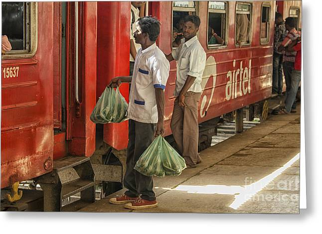 Selling Fruit To Train Passengers Greeting Card