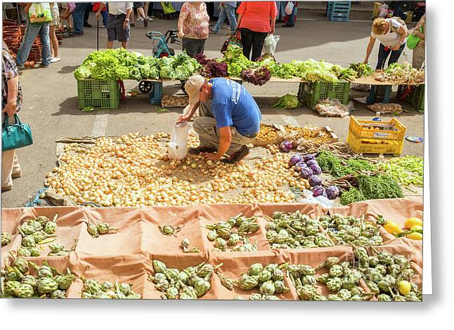 Selling Onions On A Market Greeting Card by Patricia Hofmeester