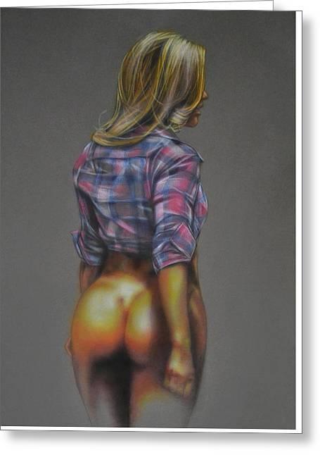 Semi-nude Pin Up Girl With Plaid Shirt Greeting Card