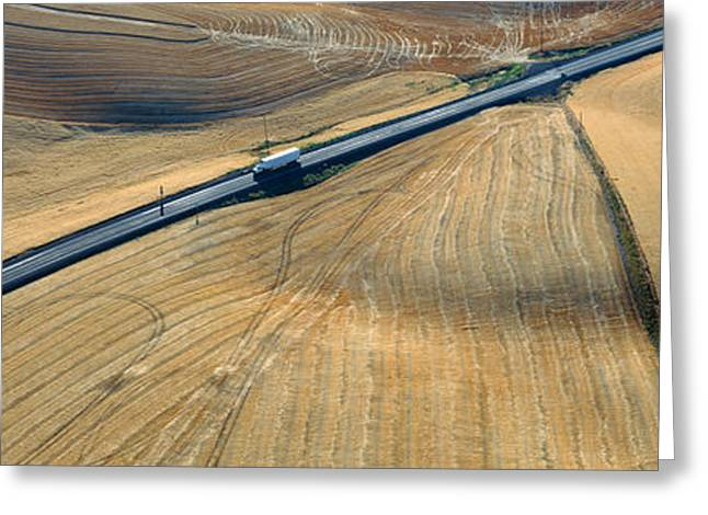 Semi-truck Driving Through Wheat Greeting Card by Panoramic Images