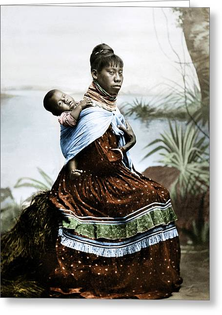Seminole Woman & Child Greeting Card by Granger