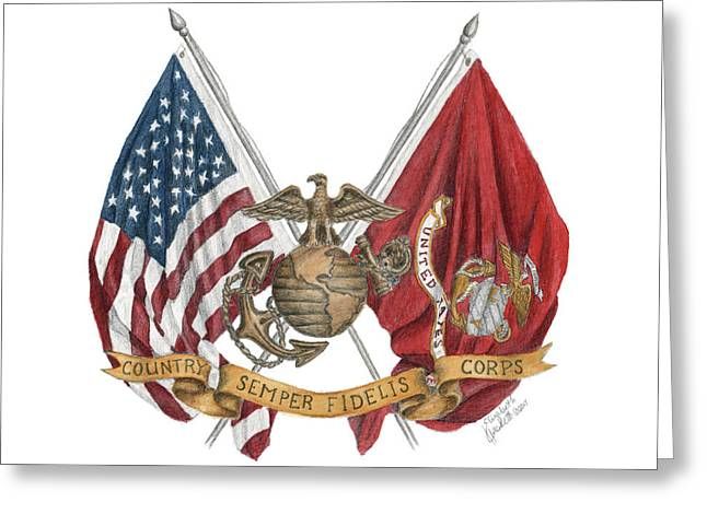 Greeting Card featuring the painting Semper Fidelis Crossed Flags by Betsy Hackett