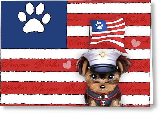 Semper Fidelis Yorkie Marine Greeting Card
