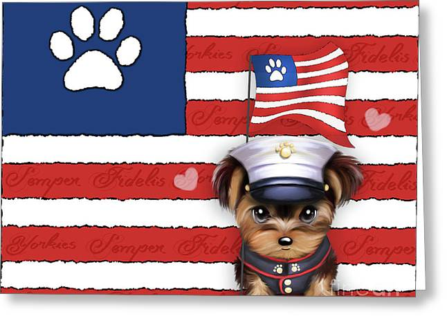 Greeting Card featuring the painting Semper Fidelis Yorkie Marine by Catia Lee