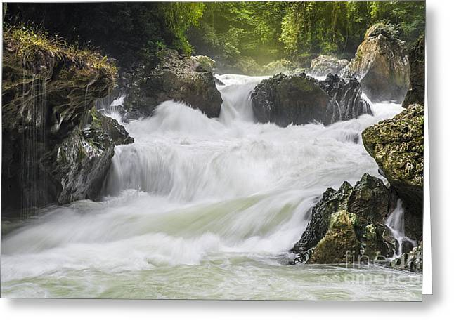 Greeting Card featuring the photograph Semuch-champey River And Waterfalls by Yuri Santin