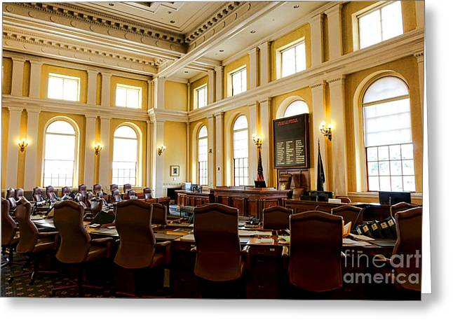 Senate Chamber At The Maine Capitol In Augusta Greeting Card by Olivier Le Queinec