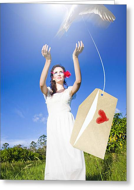 Sending A Message Of Love And Romance Greeting Card
