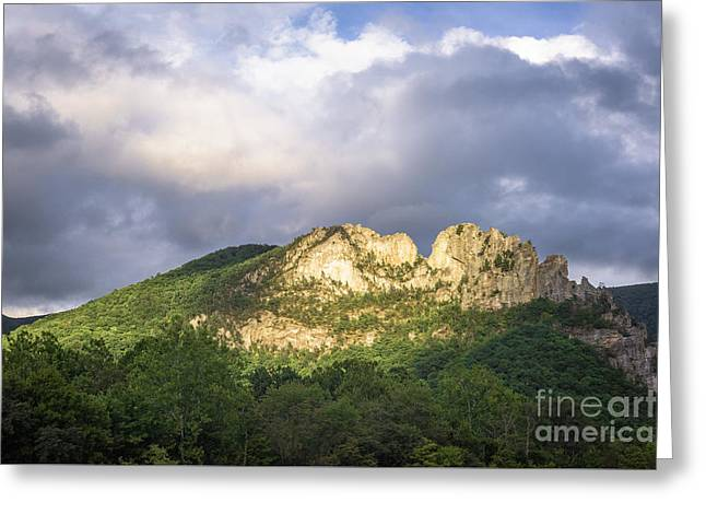 Seneca Rocks With Clouds Greeting Card by Dr Regina E Schulte-Ladbeck