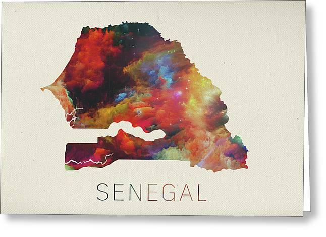 Senegal greeting cards fine art america senegal watercolor map greeting card m4hsunfo