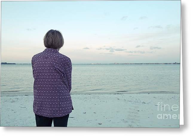 Senior Woman On The Beach  Greeting Card by Edward Fielding