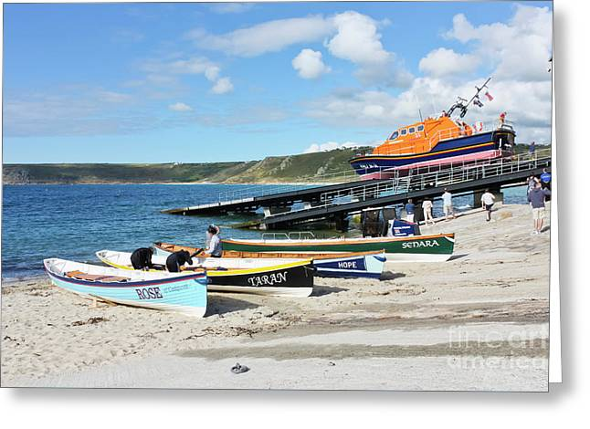 Sennen Cove Lifeboat And Pilot Gigs Greeting Card by Terri Waters