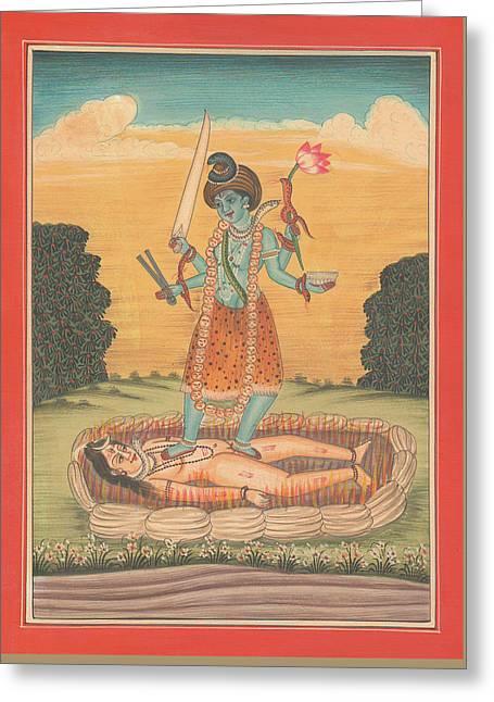 Senor Shiva Entre El Resto De Maa Kaali Pintura Miniatura India Ilustraciones De La Acuarela De Sunr Greeting Card