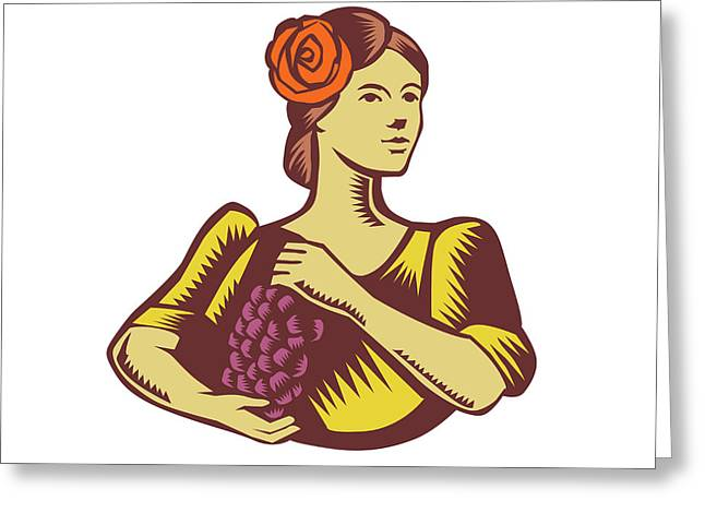 Senorita Holding Grapes Woodcut Greeting Card by Aloysius Patrimonio