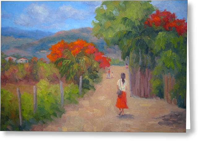 Senorita In A Red Skirt Greeting Card by Bunny Oliver