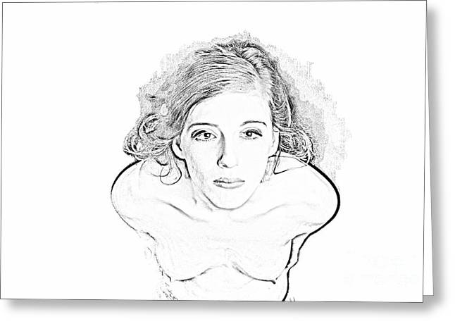 Sensual Nude Female Drawing 5514.11 Greeting Card by Kendree Miller