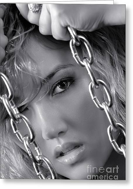 Sensual Woman Face Behind Chains Greeting Card by Oleksiy Maksymenko