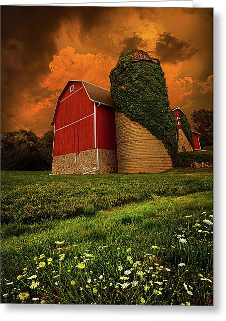 Red Barn Greeting Cards - Sentient Greeting Card by Phil Koch