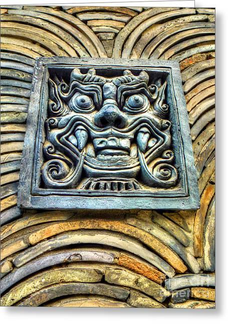 Seoul Mask Tile Greeting Card by Michael Garyet