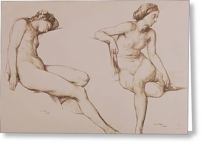1860 Greeting Cards - Sepia Drawing of Nude Woman Greeting Card by William Mulready