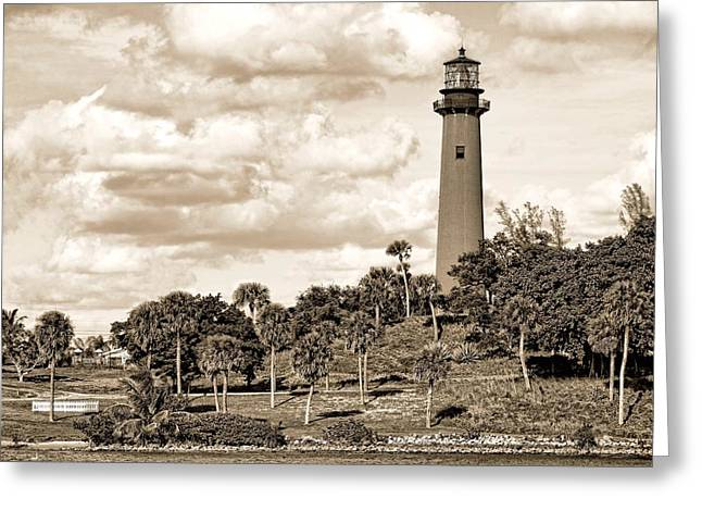Sepia Lighthouse Greeting Card by Rudy Umans