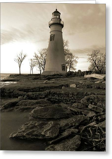 Sepia Marblehead Lighthouse Greeting Card