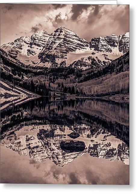 Sepia Mountains - Maroon Bells - Aspen Colorado Greeting Card