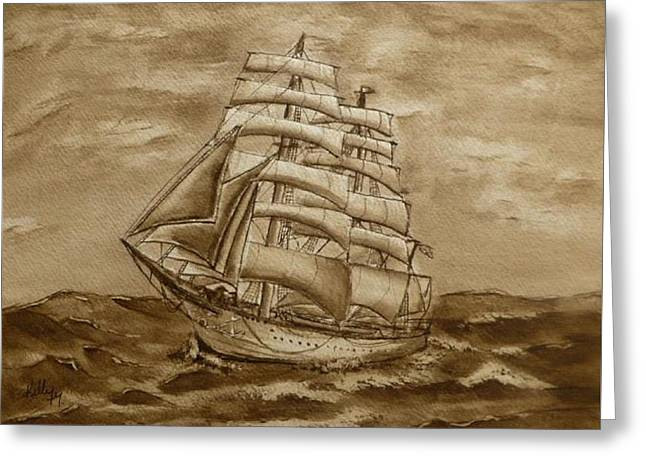 Greeting Card featuring the painting Sepia Oceans Fury by Kelly Mills