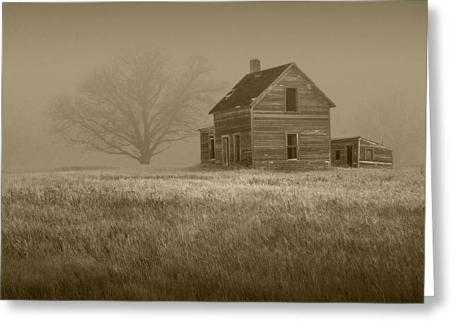 Sepia Of An Abandoned Farm House Greeting Card