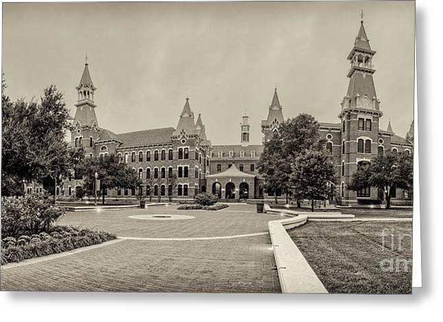 Sepia Panorama Of Burleson Hall And Old Main At Baylor University - Waco Central Texas Greeting Card