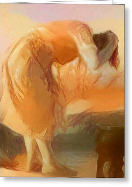 Sepia Sketch Life Drawing Woman Cleaning Hair Bent Over Washing Lake Old Greeting Card