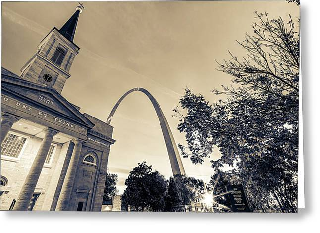 Sepia Sunrise - Downtown Saint Louis Gateway Arch And Old Cathedral Greeting Card by Gregory Ballos