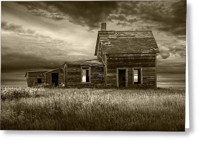 Sepia Tone Of Abandoned Prairie Farm House Greeting Card